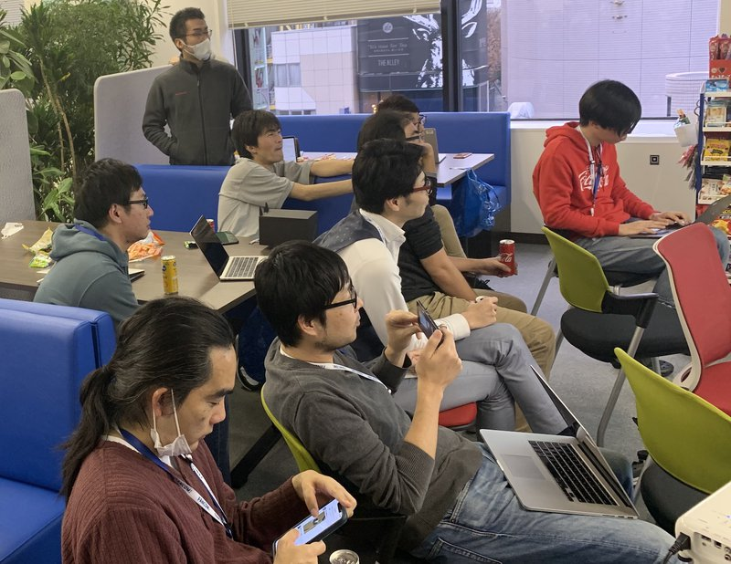 HackDay2019 全体 真剣に見入る参加者
